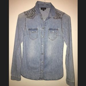Thin jean cover up/button down